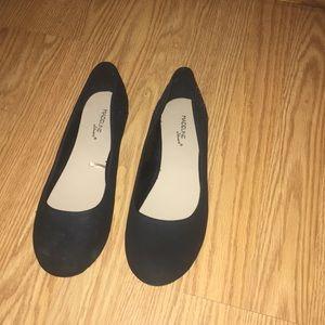 Black flats black shiny bead detail on heel